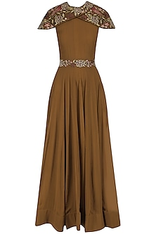 Brown Floral Embroidered Flared Gown