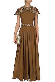 Brown Floral Embroidered Flared Gown by Jhunjhunwala