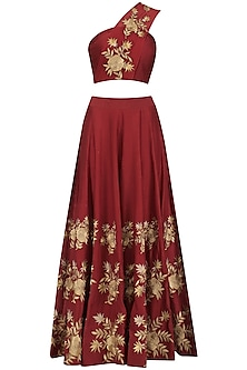 Red Floral Embroidered One Shoulder Blouse and Lehenga Set by Jhunjhunwala
