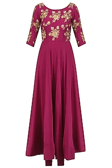 Dark Pink Floral Embroidered Anarkali Set