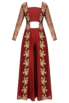 Red Floral Embroidered Jacket, Bustier and Palazzo Pants Set