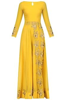 Yellow Floral Embroidered High Slit Anarkali and Pants Set by Jhunjhunwala