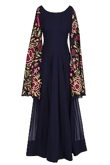 Navy Blue Floral Embroidered Anarkali with Cape Sleevees by Jhunjhunwala