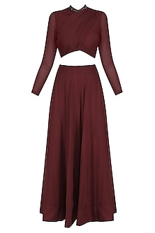 Maroon Draped Crop Top and Lehenga Skirt Set