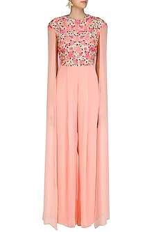 Peach Floral Embroidered Jumpsuit with Cape Sleeves by Jhunjhunwala