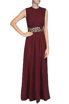 Maroon Ruched Anarkali Gown with Floral Embroidered Belt by Jhunjhunwala