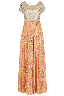 Beige Mirror Work and Floral Embroidered Anarkali Set With Dhoti Pants by Jhunjhunwala