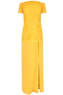 Yellow off Shoulder Embroidered Peplum Top With Dhoti Skirt