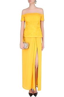 Yellow off Shoulder Embroidered Peplum Top With Dhoti Skirt by Jhunjhunwala