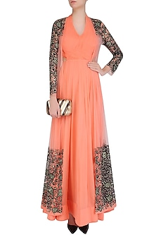 Peach Ruched Anarkali Set With Floral Embroidered A-Line Jacket by Jhunjhunwala