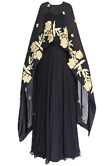 Black Pleated Anarkali With Floral Embroidered Cape by Jhunjhunwala