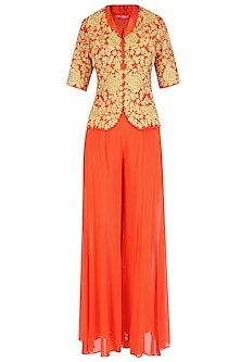 Orange and Gold Dori Embroidered Jacket With Palazzo Pants