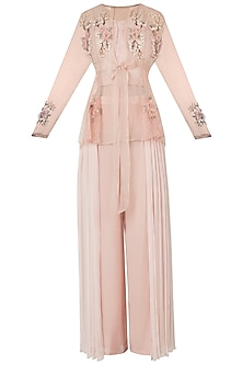 Peach ombre embellished jacket with bustier and pants