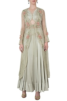 Light olive embroidered jacket with crop top and skirt by Shreya Jalan Mehta