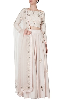 Pale pink embroidered lehenga set by Shreya Jalan Mehta