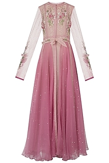Pink embroidered jacket dress with attached belt and slip dress