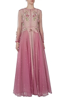 Pink embroidered jacket dress with attached belt and slip dress by Shreya Jalan Mehta