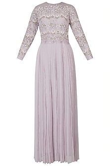 Misty lavender embroidered anarkali gown with dupatta