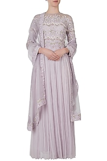 Misty lavender embroidered anarkali gown with dupatta by Shreya Jalan Mehta