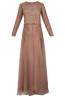Rustic brown embellished anarkali gown