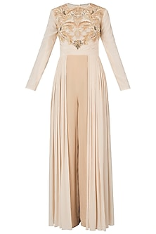 Nude pleated embroidered jumpsuit