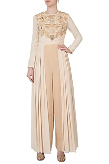 Nude pleated embroidered jumpsuit by Shreya Jalan Mehta