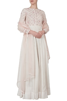 Lace pink embroidered anarkali set by Shreya Jalan Mehta