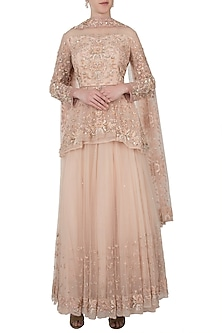 Champagne embroidered lehenga set by Shreya Jalan Mehta