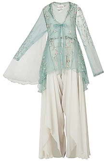 Emerald embellished jacket with ivory top and drape pants