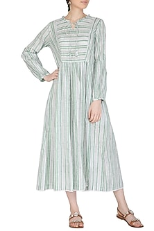 Pastel Green Block Print Striped Dress by Shikha Malik