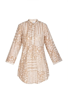 Beige Block Printed Short Kurta by Shikha Malik