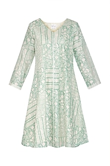 Pastel Green Block Printed Dress by Shikha Malik