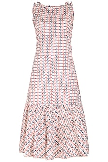Pink & Blue Block Printed Dress by Shikha Malik