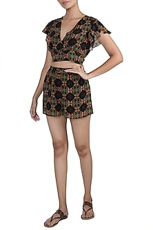 Black Digital Printed Top With Shorts by Sorabh Kant Srivastava