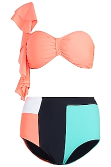 Neon orange ruffled bikini set