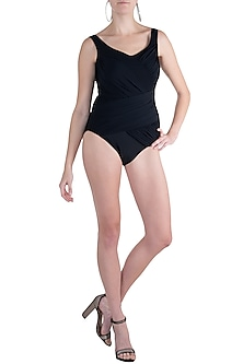 Black drape slimming swimsuit by KAI Resortwear
