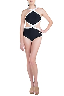 Black ace monokini swimsuit by KAI Resortwear