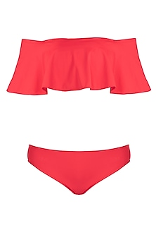 Red off shoulder double layered bikini set