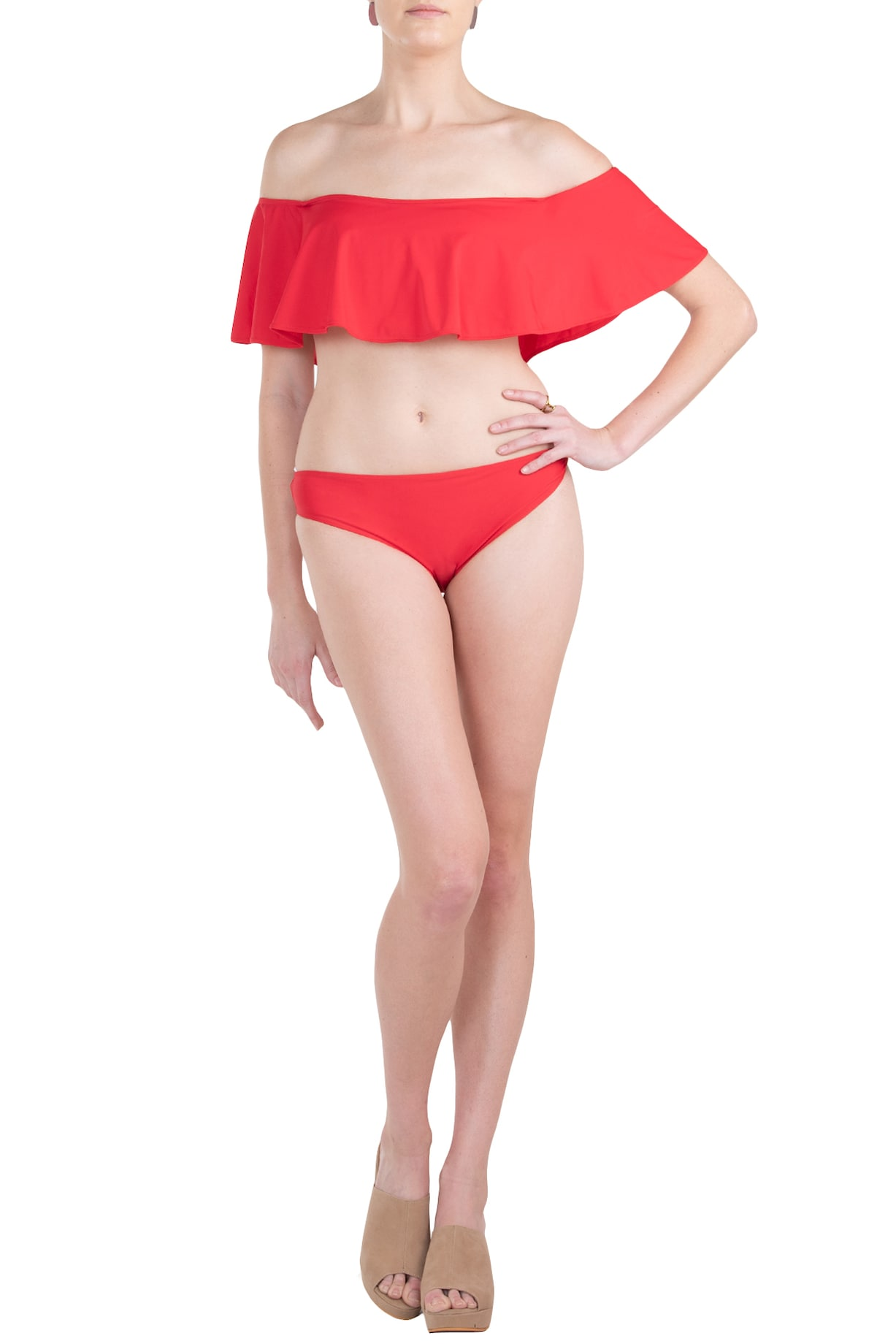 1f5a8e6c03 Red off shoulder double layered bikini set available only at ...