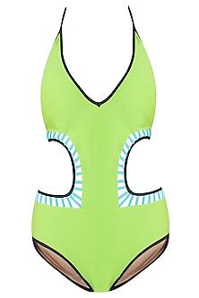 Lime halter cutout monokini swimsuit by KAI Resortwear