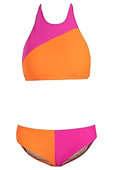 Pink colour blocked bikini set