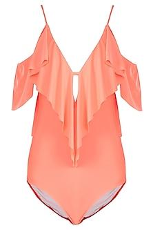Neon orange ruffled one shoulder swimsuit