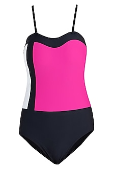 Pink three tone colour block swimsuit