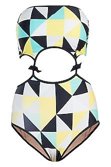 Yellow abstract cutout monokini swimsuit