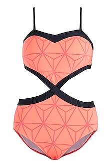 Neon orange triangular heart monokini swimsuit