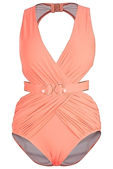Neon orange drape brooch belted swimsuit