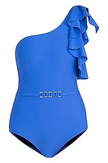 Royal blue one shoulder belted swimsuit by KAI Resortwear