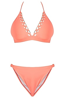Neon orange metal mesh beach bikini set