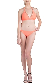 Neon orange metal mesh beach bikini set by KAI Resortwear