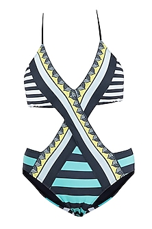 Mint striped crossover monokini swimsuit